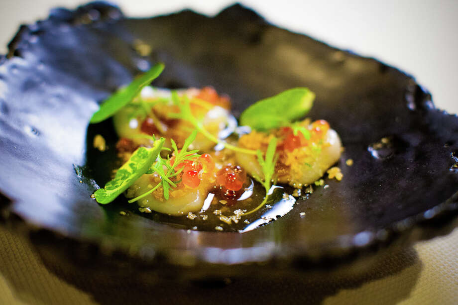 Second course: Diver scallop, cherrywood, dashi, lime, smoked ikura (Creel Films)