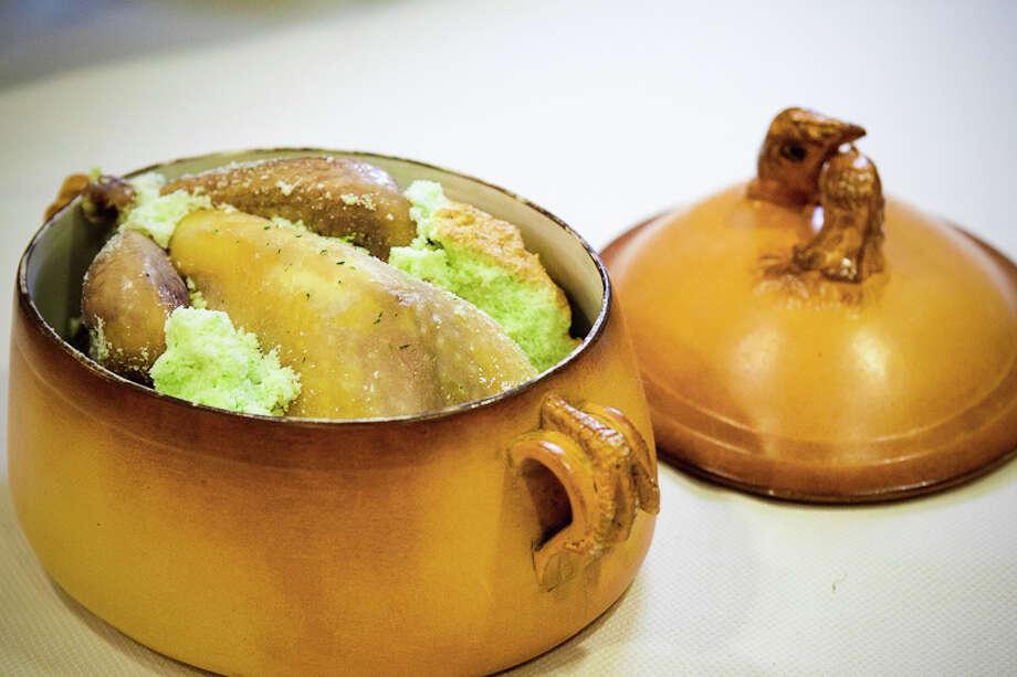 Fifth course: Guinea hen, epazote pumpkin, curds, chestnut (Creel Films)