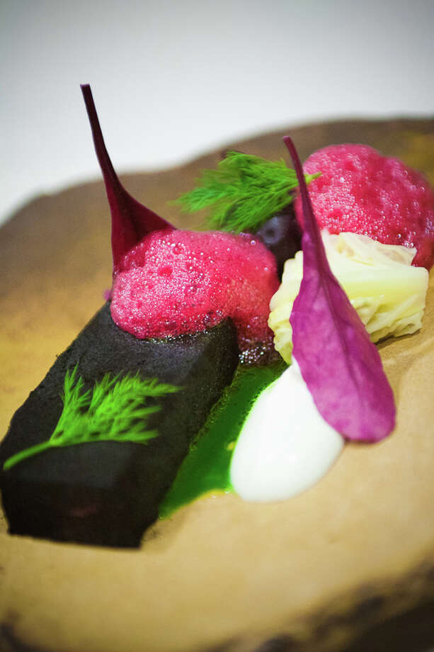 Sixth course: Short rib, kale, ash, buttermilk, red beet, dill, fermented cabbage (Creel Films)