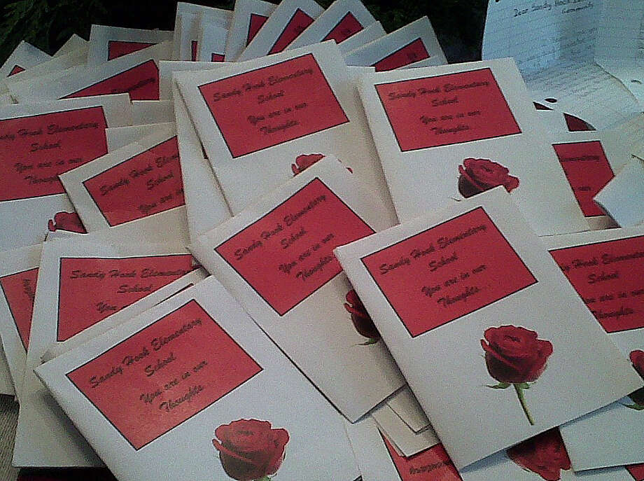 The students from the New Visions Charter High School for the Humanities in Bronx, N.Y., sent more than 200 letters of condolence to Newtown, delivered by state Sens. Toni Boucher and John McKinney. Photo: Contributed