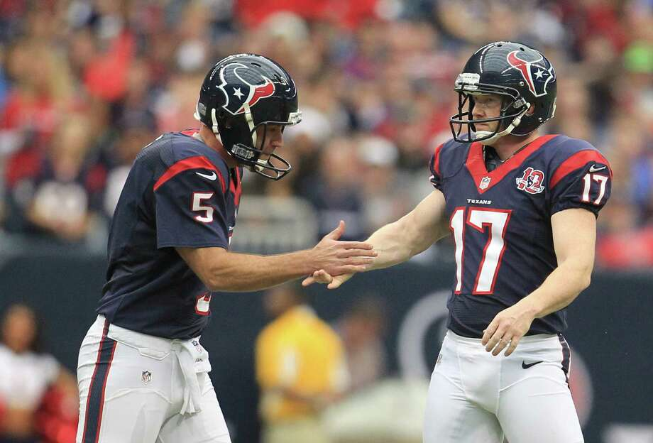 Houston Texans kicker Shayne Graham (17) celebrates a 51-yard field goal with holder Donnie Jones during the first quarter of an NFL football game against the Minnesota Vikings at Reliant Stadium, Sunday, Dec. 23, 2012, in Houston. Photo: Karen Warren, Houston Chronicle / © 2012 Houston Chronicle