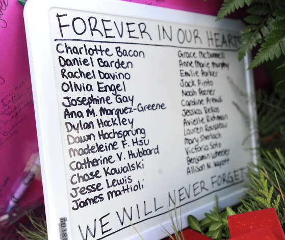 A sign of the names of the of the victims of the Sandy Hook Elementary School shooting, outside of Edmond Town Hall, Newtown, Conn., Saturday, Dec. 22, 2012. Photo: Bob Luckey / Greenwich Time
