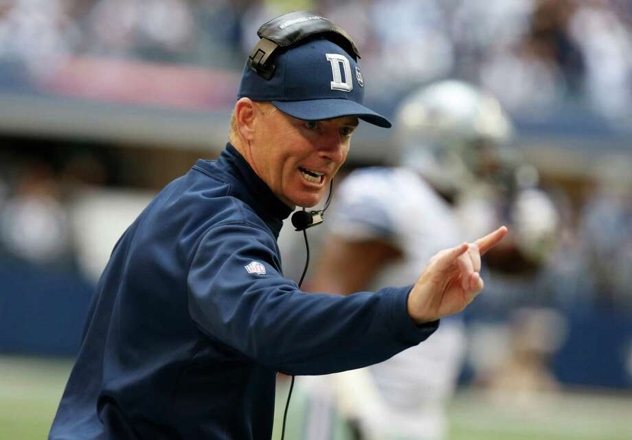 Dallas Cowboys head coach Jason Garrett calls a play during the first half of an NFL football game against the New Orleans Saints  Sunday, Dec. 23, 2012 in Arlington, Texas. (AP Photo/Sharon Ellman) Photo: Sharon Ellman, Associated Press / AP
