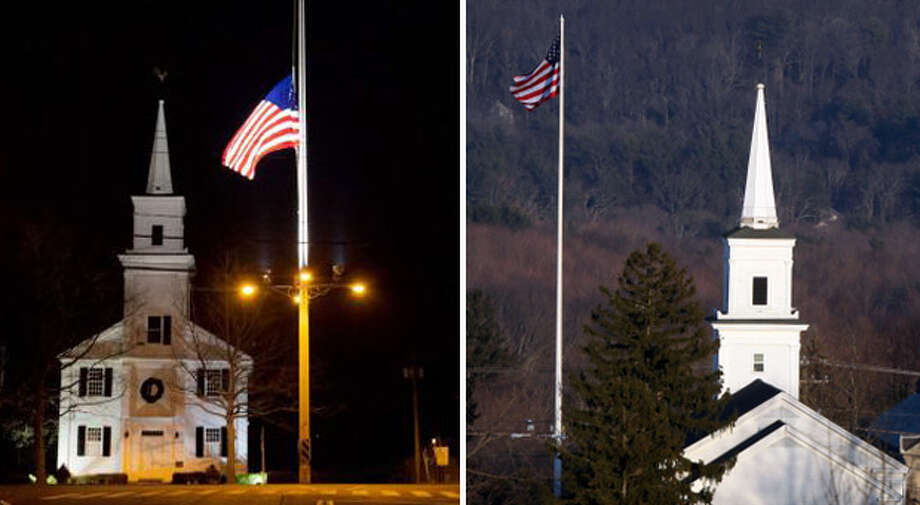 The U.S. flag was at half-staff on Newtown's Main Street to honor of the people killed when a gunman opened fire inside Sandy Hook Elementary School. The picture at left was taken Dec. 15, a day after 26 victims were killed at the school. The photo at right was taken Sunday, Dec. 23, the day the flag returned to regular height. (AP/Joshua Trujillo/Hearst Newspapers)