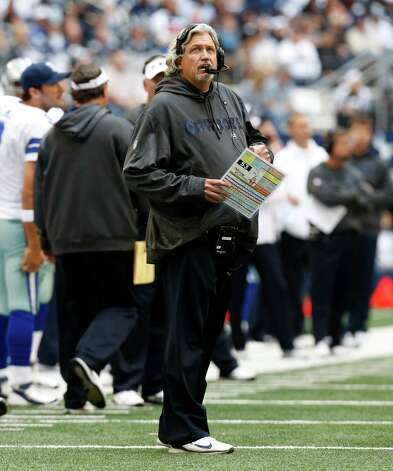 Dallas Cowboys defensive coordinator Rob Ryan looks on from the sidelines during the first half of an NFL football game against the New Orleans Saints Sunday, Dec. 23, 2012 in Arlington, Texas. (AP Photo/Sharon Ellman) Photo: Sharon Ellman, Associated Press / AP