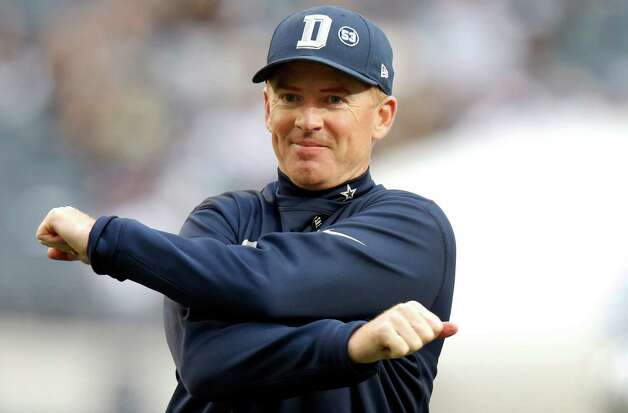 Dallas Cowboys head coach Jason Garrett stretches before an NFL football game against the New Orleans Saints, Sunday, Dec. 23, 2012 in Arlington, Texas. (AP Photo/Sharon Ellman) Photo: Sharon Ellman, Associated Press / AP