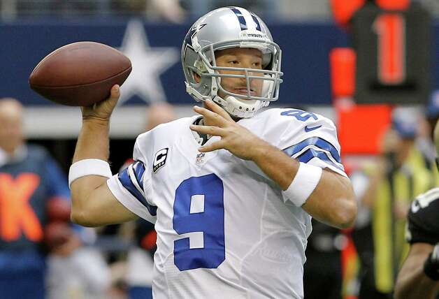 Dallas Cowboys quarterback Tony Romo (9) passes the ball against the New Orleans Saints during the first half of an NFL football game on Sunday, Dec. 23, 2012 in Arlington, Texas. (AP Photo/Brandon Wade) Photo: Brandon Wade, Associated Press / AP