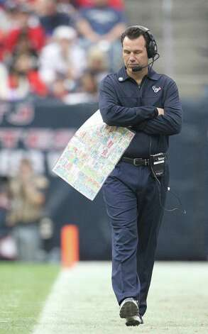 Houston Texans head coach Gary Kubiak paces the sidelines during the second quarter of an NFL football game against the Minnesota Vikings at Reliant Stadium, Sunday, Dec. 23, 2012, in Houston. Photo: Karen Warren, Houston Chronicle / © 2012 Houston Chronicle
