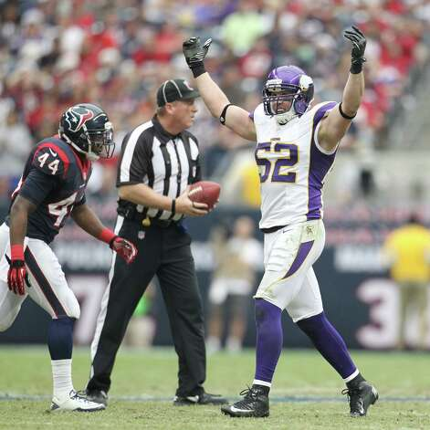 Minnesota Vikings outside linebacker Chad Greenway (52) celebrates during the third quarter of an NFL football game at Reliant Stadium, Sunday, Dec. 23, 2012, in Houston. Photo: Karen Warren, Houston Chronicle / © 2012 Houston Chronicle