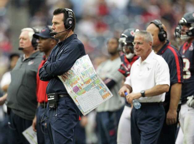 "Texans coach Gary Kubiak disputes the notion his team lacks the ability to strike quickly. ""We want to run the ball. ... But if we've got to line up and throw it a ton, we can do that,"" he said. ""We've won games throwing it all over the yard."" Photo: Karen Warren, Houston Chronicle / © 2012 Houston Chronicle"