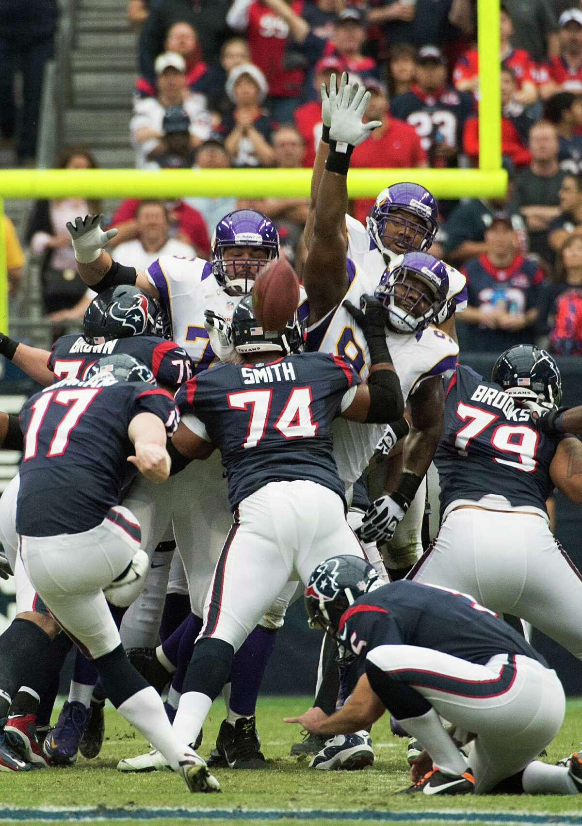Houston Texans kicker Shayne Graham (17) connects on a 51-yard field goal during the first quarter against the Minnesota Vikings at Reliant Stadium on Sunday, Dec. 23, 2012, in Houston.