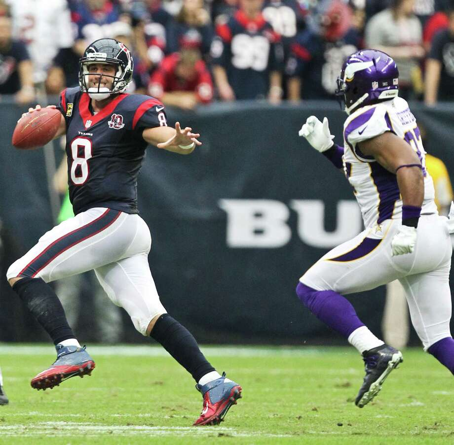 Houston Texans quarterback Matt Schaub (8) scrambles to get away from Minnesota Vikings defensive end Everson Griffen (97)  during the second quarter of a NFL game, Sunday, Dec. 23, 2012, at Reliant Stadium  in Houston. Photo: Nick De La Torre, Houston Chronicle / © 2012  Houston Chronicle