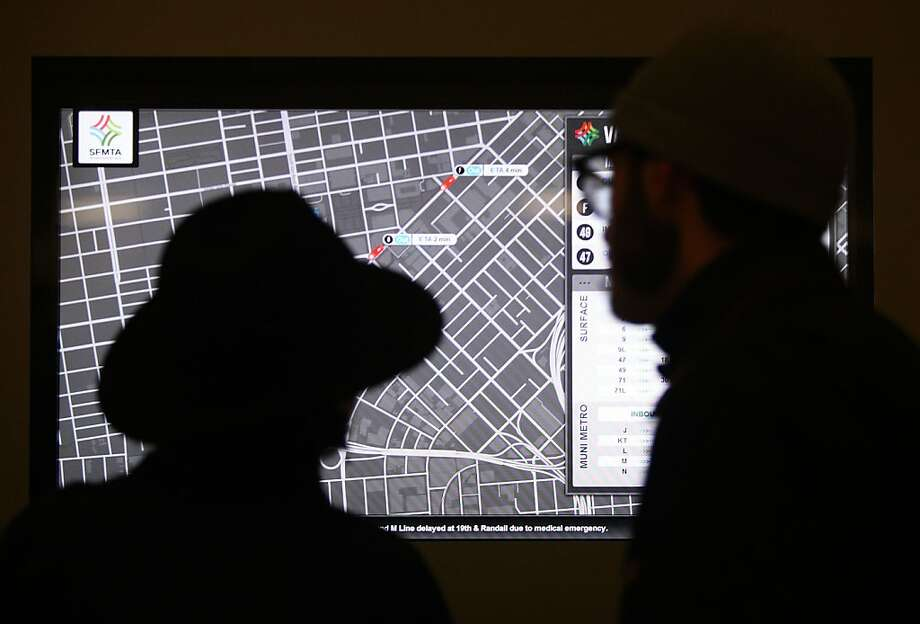 A computerized map at Muni's Van Ness Station offers live information. Photo: Liz Hafalia, The Chronicle