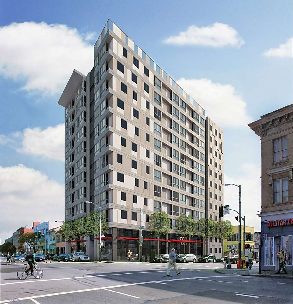 Microapartment complex at 9th and Mission Streets, San Francicso, being built in 2013. The complex is near the Twitter offices.