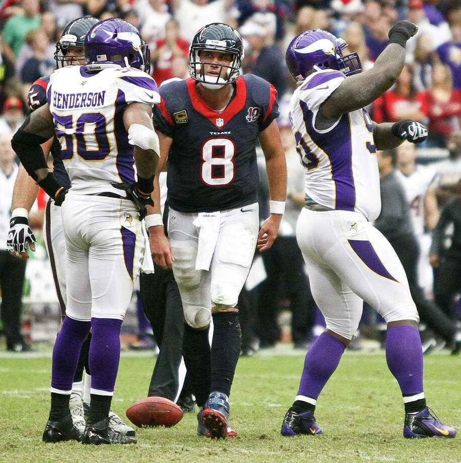 Vikings defensive tackle Fred Evans (90)  dances after sacking Texans quarterback Matt Schaub (8) during the fourth quarter. Photo: Nick De La Torre, Houston Chronicle / © 2012  Houston Chronicle