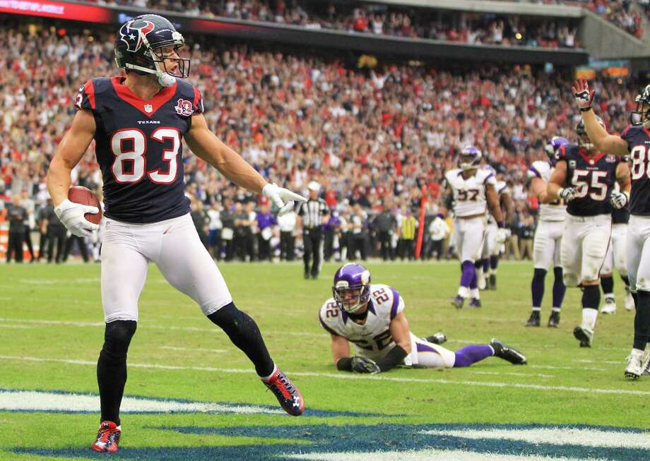 Texans wide receiver Kevin Walter (83) reacts after being stopped at the one-yard line during the third quarter. Photo: Karen Warren, Houston Chronicle / © 2012 Houston Chronicle