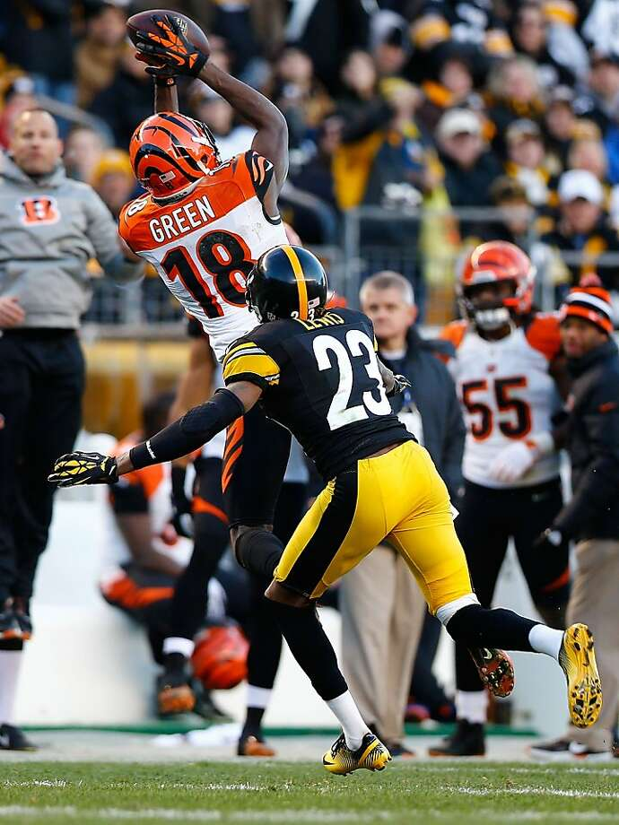"Cincinnati wide receiver A.J. Green, catching a pass in front of the Steelers' Keenan Lewis, said, ""I've been here two years and we made the playoffs all two years. That's all we can control."" Photo: Jared Wickerham, Getty Images"