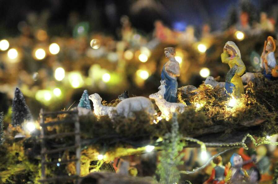 Figurines are displayed in Ralph Micale?s massive Nativity scene which he sets up each year in his C
