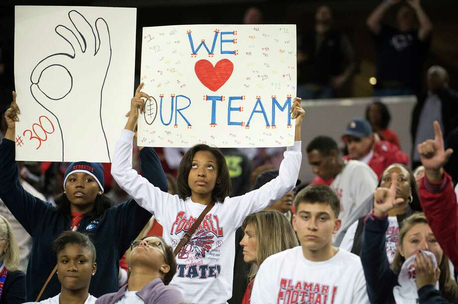 Lamar fans show support for their team after a loss to Allen. Photo: Smiley N. Pool, Houston Chronicle / © 2012  Houston Chronicle