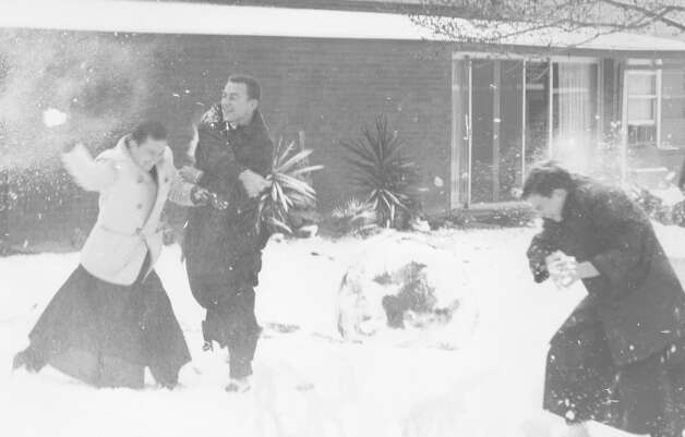 Young men have a snowball fight at Assumption Seminary in the 3000 block of W. French Place after a snow storm in San Antonio on Feb. 22, 1966. Photo: San Antonio Express-News File Photo