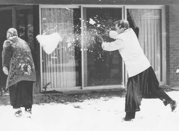 A snowball fight gets intense at Assumption Seminary after a snow storm in San Antonio on Feb. 22, 1966. Photo: San Antonio Express-News File Photo