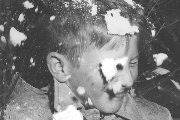 A boy gets hit in the face with a snowball after a storm in San Antonio on Feb. 22, 1966.