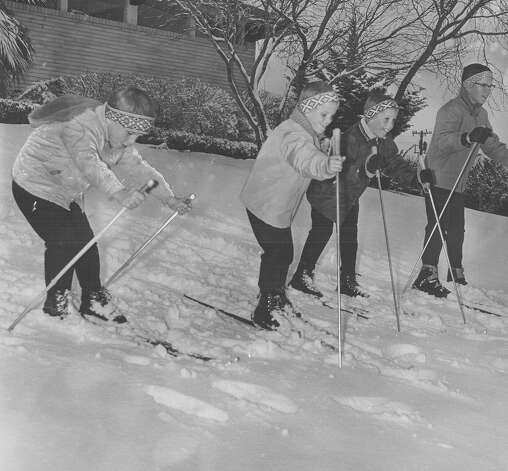 Children ski in San Antonio after a snow storm on Feb. 22, 1966. Photo: San Antonio Express-News File Photo