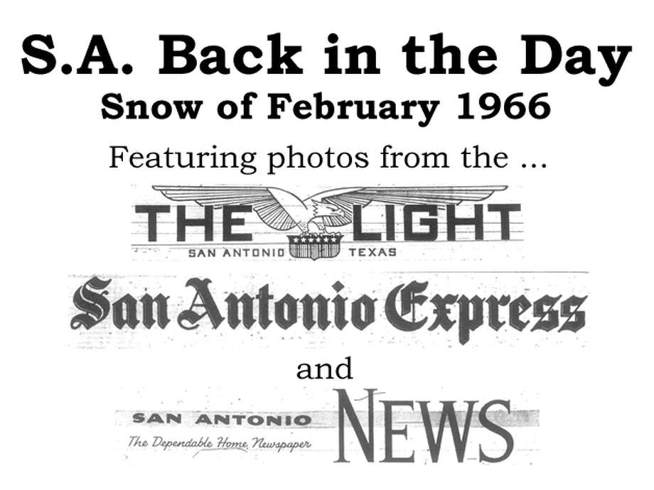 When 3.5 inches of snow fell Feb. 22-23, 1966, thousands of snowmen appeared throughout the Alamo City, news archives indicate. We've combed through the San Antonio Express, San Antonio News and San Antonio Light archives to bring you the best photos from that storm. Enjoy! Compiled by Merrisa Brown, mySA.com. Photo: San Antonio Express-News File Photo