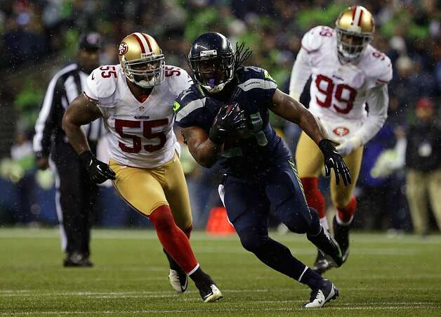 Former Cal running back Marshawn Lynch was a thorn in the 49ers' side, rushing for 111 yards. He had one running touchdown and another on a reception. Photo: Jordan Stead, Special To The Chronicle