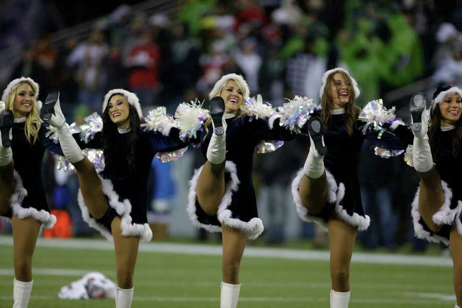 Seattle Seahawks Sea Gals perform before an NFL football game against the San Francisco 49ers, Sunday, Dec. 23, 2012, in Seattle. Photo: AP