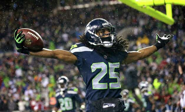 Seattle Seahawks' Richard Sherman motions to fans after intercepting in the end zone against the San Francisco 49ers in the second half of an NFL football game, Sunday, Dec. 23, 2012, in Seattle. The Seahawks won 42-13. Photo: AP