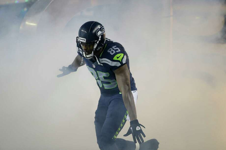 Seattle Seahawks Anthony McCoy enters the field during introductions before playing San Francisco 49ers in an NFL football game, Sunday, Dec. 23, 2012, in Seattle. Photo: AP