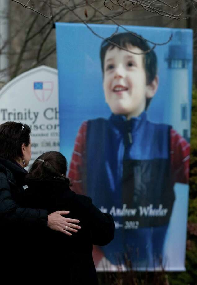 A portrait of Benjamin Andrew Wheeler is shown during the funeral for the six year-old at Trinity Episcopal Church in Newtown. Photo: JOSHUA TRUJILLO / HEARST NEWSPAPERS