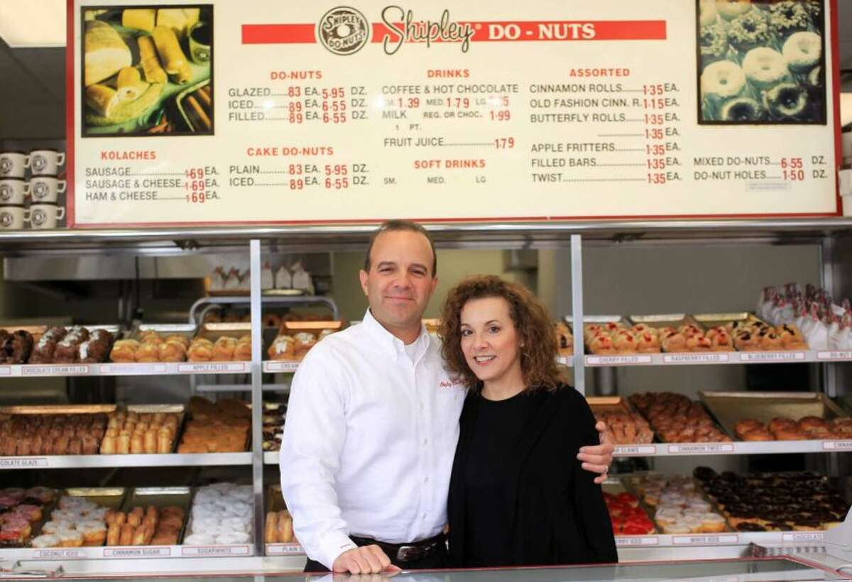 Lawrence Shipley III, and his sister, Sharon A. Shipley, stand at the Shipley Do-Nuts shop at 1209 Dairy Ashford, Dec. 11, 2012, in Houston. Shipley of the future: New products, new looks for a Houston favorite