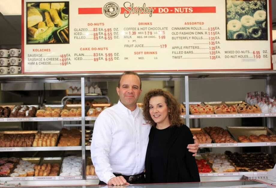 Lawrence Shipley III, and his sister, Sharon A. Shipley, stand at the Shipley Do-Nuts shop at 1209 Dairy Ashford, Dec. 11, 2012, in Houston.Shipley of the future: New products, new looks for a Houston favorite