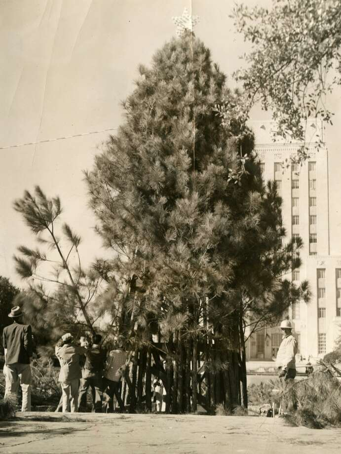 From December 1957: City employees perform their annual job of erecting the Tree of Light in the City Hall park. The tree will be lighted in a ceremony Dec. 17 at 8 p.m. following a prayer of dedication. The lighting will be preceded by a Christmas music concert and carol singing. Costumed Reagan High School trumpeters, lantern bearers, and a hundred-voice choir will participate in the ceremony. The tree will be presented by teenagers from city recreation centers. The program is under the direction of Coralie Gregory Wood, music supervisor for the parks and recreation department. (Chronicle file)