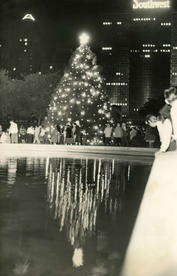 From December 18, 1957: The city s traditional and impressive Tree of Light program was held Tuesday evening, and the tree was illuminated at its traditional stand in the City Hall garden. It was presented to the city by teenagers from the city recreation centers. Added info from December 10, 1972: The city s annual Christmas observance for many years included a Tree of Light ceremony in the City Hall area. Later moved to Miller Theatre in Hermann Park, it was discontinued in 1971. (Chronicle file)