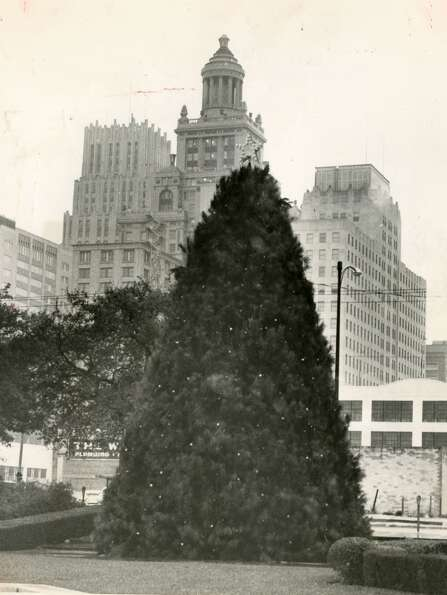 From December 14, 1958: This 35-foot Christmas tree adorning the City Hall gardens continues a tradi