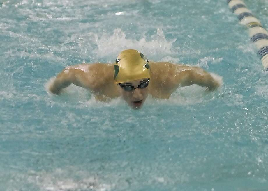 Stratford's Michael Miller competes in the 100 yard butterfly during the Spring Branch ISD swimming meet at W. W. Emmons Natatorium 12/13/12. Photo by Tony Bullard. Photo:  Tony Bullard 2012, Freelance Photographer / © Tony Bullard & the Houston Chronicle