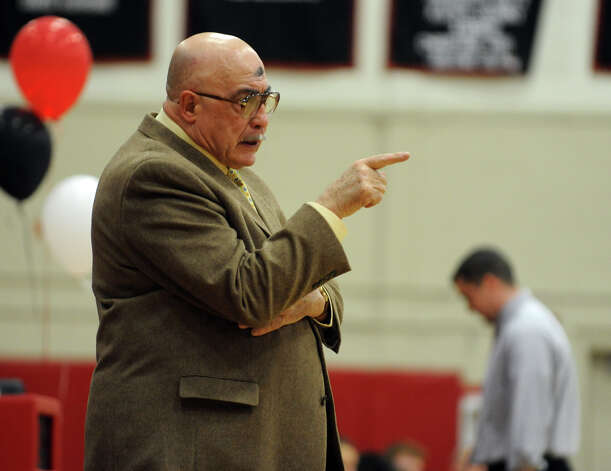 St. Jospeh Head Coach Vito Montelli, during boys basketball action in Fairfield, Conn. on Wednesday February 22, 2012. Photo: Christian Abraham / Connecticut Post