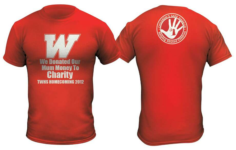 T-shirts worn by students at The Woodlands High School when they donated mum money to charity. Photo: The Woodlands High School