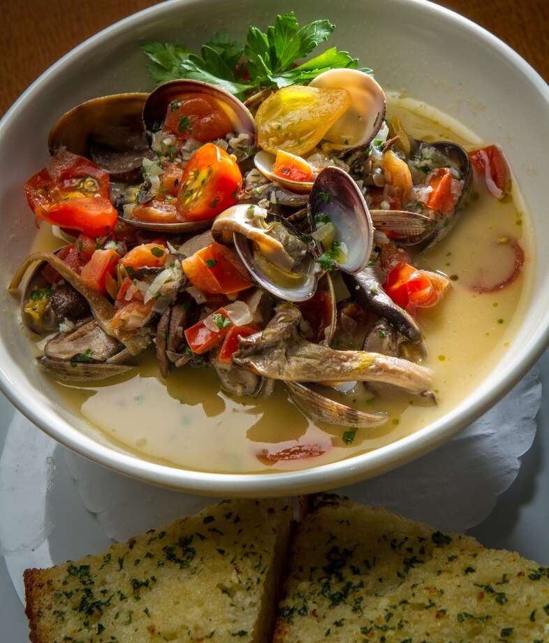 The Trident is also a good place for clams ($16); they're fresh tasting, bathed in a sauce with sherry, garlic, butter and tomatoes, and accompanied by slices of grilled bread. On another visit, the mussels ($16), in what was apparently the same sauce, weren't nearly as good; the sauce was watery and the seafood tired. However, the fries served alongside were good. (Special to the Chronicle)