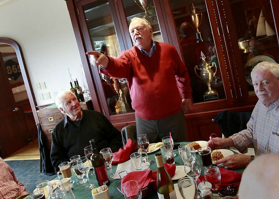 Bruce Schroffel, now an actor in Los Angeles, points to a table of fellow alumni during the annual gathering of the Lincoln High Class of '55 Men's Club. Photo: Brant Ward, The Chronicle