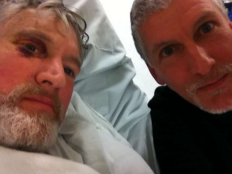 Tom Cronin, left, is seen with his brother, Dan, on Sunday, Dec. 23, 2012 in the SF General Hospital emergency room. Photo: Courtesy Of Dan Cronin