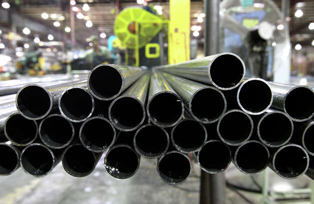 Steel pipes are prepared to be made into various metal furniture at KLN Steel Products on Thursday, Dec. 13, 2012. KLN marked their sixth-month anniversary since it was acquired from bankruptcy by Dallas-based Avteq Inc. The company makes furniture for military barracks and college dorms. Photo: Kin Man Hui, San Antonio Express-News / © 2012 San Antonio Express-News