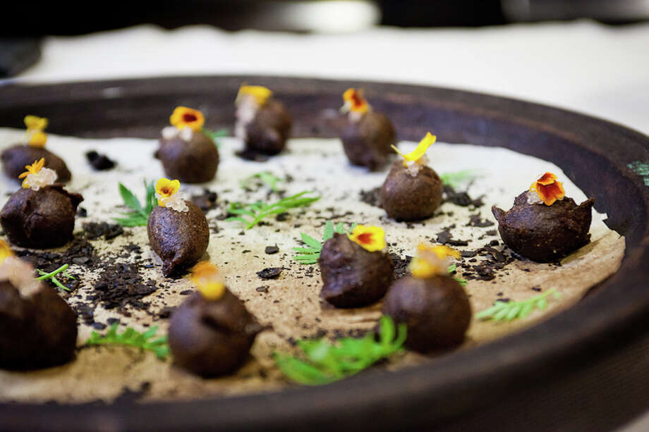 Canape: Black chickpea zeppole (Creel Films)