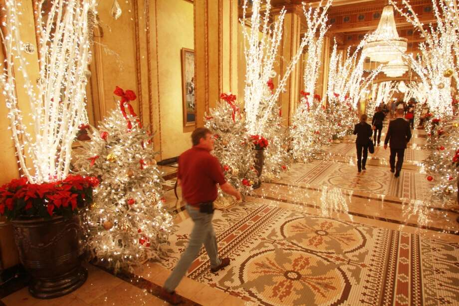 The decorations compliment the storied Roosevelt's mosaic floors and chandeliers.