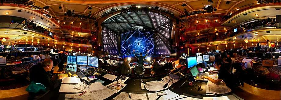 "One of Stephen Joseph's panoramic images shows lighting designer Donald Holder working on the set of the musical ""Spider-Man: Turn Off the Dark"" in New York City. Photo: Bedford Gallery"