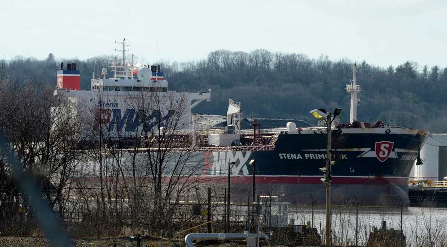 The Stena Primorsk rides much higher in the water after it off loaded its cargo of crude oil in the Port of Albany after it ran aground sour of the capital city of Albany, N.Y. Dec 24, 2012.     (Skip Dickstein/Times Union) Photo: SKIP DICKSTEIN