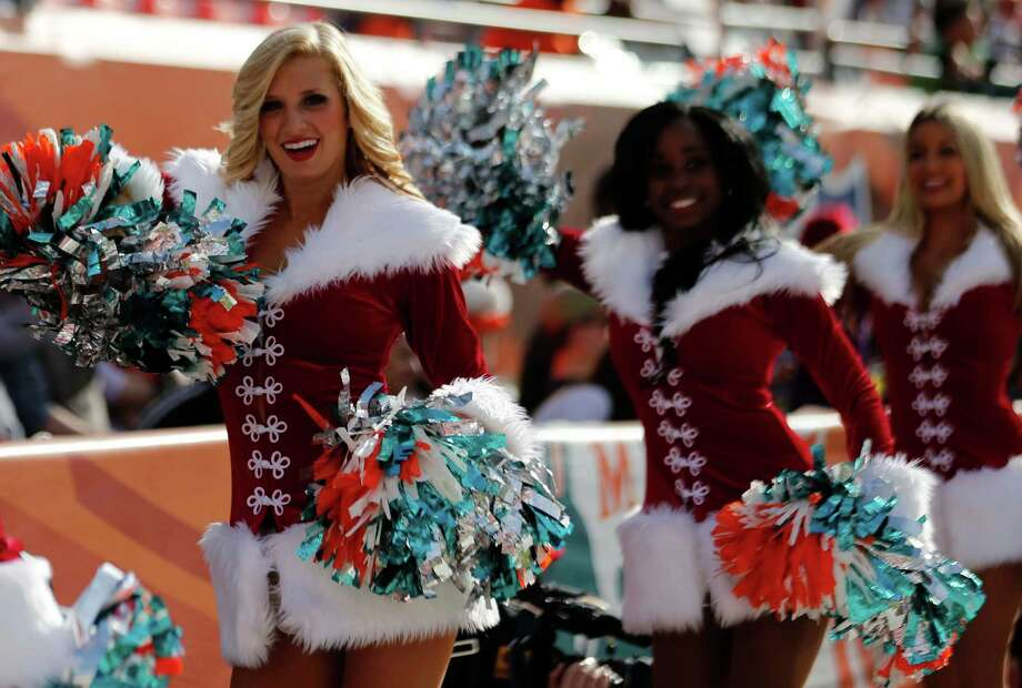 Miami Dolphins cheerleaders perform. Photo: AP